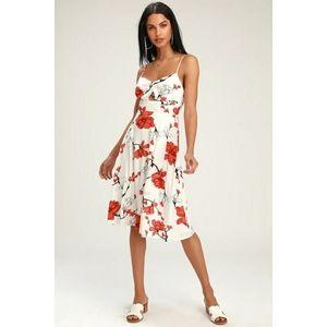 Lulus Blossom Babe White Floral Cutout Midi Dress